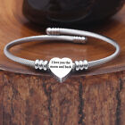 Womens Silver Stainless Steel Beaded Charm Bracelet Initial Letter A to Z