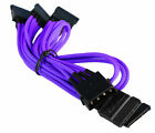 4-Pin Molex to 5 x SATA Cable Cord Premium Sleeved Braided Adapter PC Computer
