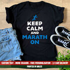Ladies Keep Calm And Marathon On T Shirt Funny Running & London Training Run Top