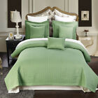 Luxury Checkered Quilted Wrinkle Free Sage 6 PC Microfiber Coverlet Sets image