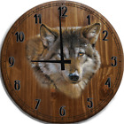 Large Wall Clock Crystals & Gold American White Grey Wolf Bar Sign