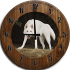 Large Wall Clock White Wolf Hunting Prey Bar Sign