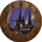 Large Wall Clock Aurora Borealis over Alaskan Cabin, Pine Trees and Night Sky