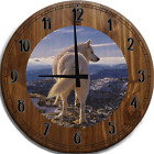 Large Wall Clock White Wolf Mountain View Bar Sign