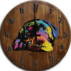 Large Wall Clock Neon Colors Lazy Loving Lab Labrador Dog Art Deco Bar Sign