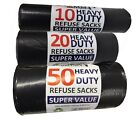Strong Black Bin Bags On Roll Refuse Rubbish Sack Bin Liner 10s / 20s / 50s