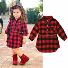 Girls Turn Down Collar Straight Dress Casual Long Sleeve Plaid Cotton Dresses $13.27 USD on eBay