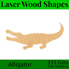 Alligator Laser Cut Out Wood Shape Craft Supply - Woodcraft Cutout