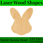 Easter Bunny Head Laser Cut Out Wood Shape Craft Supply - Woodcraft Cutout