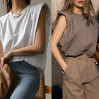 Womens Padded Shoulder Muscle Sleeveless Tee Top T-Shirt Blogger Eva