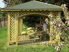 3m x 3m(Ex 3.5m x 3.5m)GARDEN WOODEN GAZEBO ARCHED WITH OPTIONS HOT TUB SHELTER