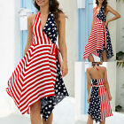 Womens V-Neck Backless Fashion Sexy Fourth of July American Flag Summer Dress