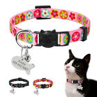 Quick Release Cat Collar & ID Tags Personalised Name Engraved Nylon Collar Black