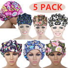 5PACK Bouffant Scrub Cap with Sweatband Ponytail Hats Work Accessories Head Wear