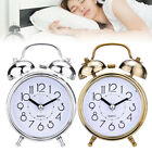 Double Twin Bell Alarm Clock Night Light Silent Desk Bed Metal Table Clock US