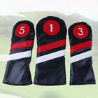 Golf Head Covers #1 #3 #5 Headcovers Driver / Fairway Rescue / Hybrid PU LeatK7G