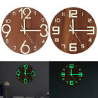 Luminous Wall Clock Number Quartz Glow In The Dark Night Light Hanging Clocks US