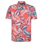 Espionage Mens Plus Size Cotton Lead Print Shirt in Coral/Turquoise