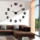 Cool Backwards Reverse Numbers DIY Unique Wall Clock 3D Home Room Decor Gift