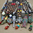 Handmade Nepal Buddhist Mala Bead Pendant Necklace Ethnic Horn Fish Long Chain