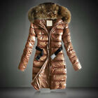 Womens Thermal Hooded Ski Coats Longline Winter Jacket Quilted Padded Overcoats