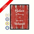 Believe In Yourself & You Will Be Unstoppable Red Quote Framed Canvas Wall Art