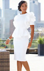 Ashro White Formal Wedding Cocktail Party Jalissa Peplum Dress S L XL 1X 2X 3X