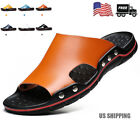 2020 Mens Summer Soft Leather Casual Sandals Beach Shoes Anti-slip Flat Slippers