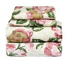 4 Pcs Floral Sheet Set Flat/Fitted/Pillowcases Large Pink Rose on Light Green image