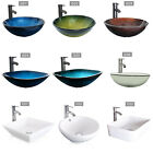 Vessel Sink Ceramics Glass Bathroom Drain Faucet Bowl Combo Pop Up Basin Set