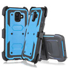 For Samsung Galaxy A6 2018 Shockproof Armor Stand Clip Case Cover+Tempered Glass