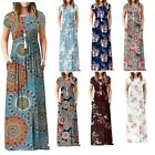 Women's Short Sleeve Boho Plain Maxi Casual Long Pockets Plus Size Floral Dress