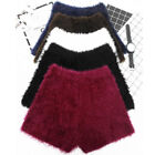Womens Faux Mohair Shorts Fluffy High Waist Stretch Fit Knitted Dance Hot Pants