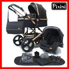 Pixini Kinderwagen GOLD Edition Komplettset Buggy Babyschale 3in1