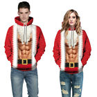 Couples Men Women Xmas 3D Muscle Print Funny Hooded Sweatshirts Jumper Pullover