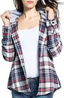 BomDeals Women's Classic Plaid Cotton Hoodie Button-up Flannel Shirts
