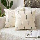 MIULEE Decorative Canvas Throw Pillow Cover Stripes Geometric Pillowcase for Cou