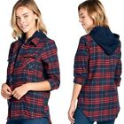 CiSono Hooded Plaid Button Down Shirt Blose Hoodie Zipup Double Layer