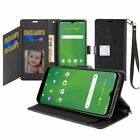 For Cricket Ovation, AT&T Radiant Max Vegan PU Wallet ID Card Holder Cover Case