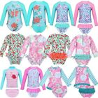 Kids Baby Girls Swimwear Floral Ruffle Swimsuit One-Piece Long Sleeve Rash Guard