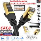 RJ45 Cat8 Ethernet Cable Network Gold Ultra-thin 40Gbps SSTP Patch LAN Lead...