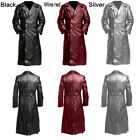 Gothic Mens Steampunk Vintage Coat PU Leather Jacket Goth Vampire Coat Costume