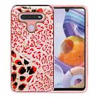 For LG Stylo 6 Luxury Chrome Glitter Design Rugged Case Cover + Tempered Glass