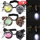 LED Light Steampunk Goggles Vintage Glasses Punk Retro Round Sunglass Xmas Gift