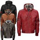 XPOSED Mens Real Leather Hood Bomber Jacket Biker Slim Fit Quilted Red Stripes