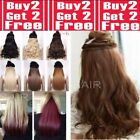 "Real Cheap Hair Extensions Clip In 1PC Half Head Long 18"" 24"" 28"" Blondes Browns"