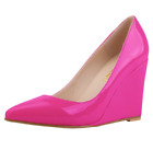 Womens Wedge High Heels Shoes Patent Leather Pumps Pointed Toe Shoe Plus Size