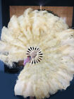 """wheat Ostrich  Marabou Feathers fan 27""""x 53"""" with Travel leather Bag"""