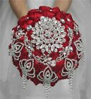 Wedding Use Bouquet Pearl Bridal Polyester Rose Red Party Decoration Flowers New