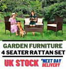 Garden Outdoor Furniture Rattan Set 4pc Table Chair Sofa For Patio Lounger Yard